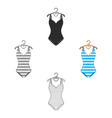 bright striped swimsuit in colors the vector image vector image