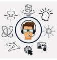 character man vr headset reality glasses wired vector image