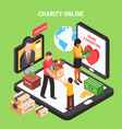 charity online isometric composition vector image vector image