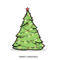 Christmas doodle tree with garland vector image vector image