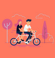 couple riding tandem bicycle vector image vector image