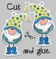 cute cartoon gnome on a gray background vector image