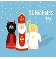 Cute St Nicholas with devil and angel christmas vector image