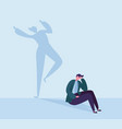depressed businessman with happy shadow vector image