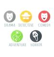 Drama Detective Comedy Adventure Horror Film Logo vector image