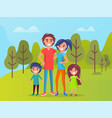 family in park father and mother with children vector image vector image