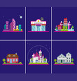 flat cottages modern cottage houses suburban vector image vector image