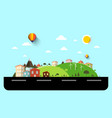 flat design landscape with street vector image