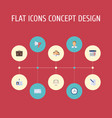 flat icons portfolio calendar libra and other vector image vector image