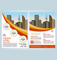 flyer corporate business with yellow and red lines vector image