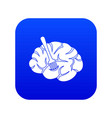 fork is inserted into the brain icon digital blue vector image
