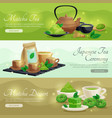 green matcha tea horizontal banners vector image vector image