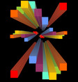 group of multicolored 3d prism in perspektive vector image