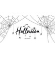 happy halloween text banner with spiders and web vector image vector image