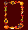 happy thanksgiving day frame design with holiday vector image