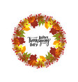 happy thanksgiving day greeting lettering phrase vector image vector image