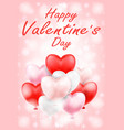 happy valentines day with pink red white balloons vector image vector image