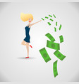 happy young woman surrounded green money vector image