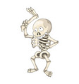 human skeleton standing with leg cartoon vector image