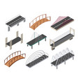 isometric bridges icons set 3d isolated vector image