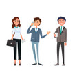 man meeting with businesswoman and businessman vector image vector image