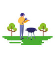 man with grill barbecue natural outdoor vector image