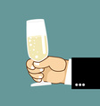 Mens hand and glass of champagne Businessman vector image vector image