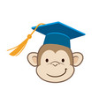monkey graduate cartoon portrait vector image
