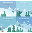 Mountains Landscape Banners Set Mountaineering vector image vector image