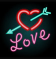 neon light design for word love vector image