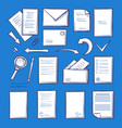 office paper and magnifying glass isolated vector image vector image