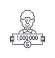 one million dollars line icon concept one million vector image vector image