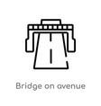 outline bridge on avenue perspective icon vector image vector image