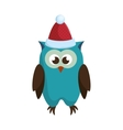 owl with christmas hat vector image