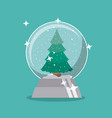 pine tree and sphere of merry christmas design vector image vector image