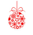 red decor christmas tree ball with stars ans vector image vector image