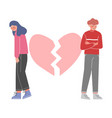 sad young man and woman with broken heart breakup vector image