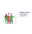 santa claus with mix race elves couple taking vector image
