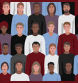 Seamless pattern with people faces of