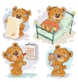 Set clip art of bored teddy vector image vector image