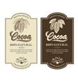 set cocoa labels vector image