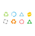 set color recycle sign on white background vector image vector image