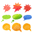 Set of comic style colorful hand-drawn talk clouds vector image vector image