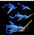 Set of four blue swordfishes cartoon characters vector image