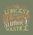summer solstice lettering vector image