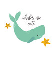 sweet design with cute whale and starfish nursery vector image vector image