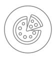 Whole pizza with slice line icon vector image vector image