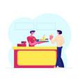 young man customer buying fast food combo set at vector image