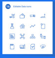 16 data icons vector image vector image