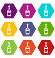 alcohol icons set 9 vector image vector image